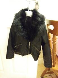 GIRLS FAUX LEATHER JACKET WITH FUR COLLAR 4-5 YRS