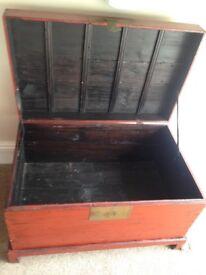 Red light weight oriental storage chest