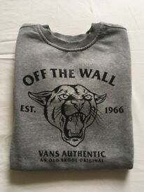 "Vans Kid's ""Off The Wall"" grey sweatshirt, size medium. Used, but in good condition."