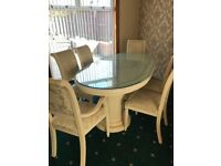 Stunning Italian dining table, cabinet& chairs