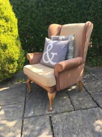 Wing back ARMCHAIR library QUEEN ANNE legs CHESTERFIELD vintage
