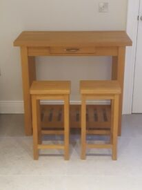 Laura Ashley Breakfast Console and Two Stools - Solid Oak - Excellent Condition