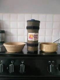 Rabbit bottle snug and bowls