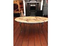 Marble effect ornate coffee table , vintage retro style