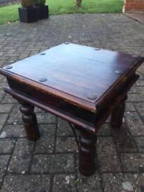 Dark wood sheesham lamp/side table
