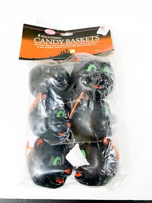 Halloween Candy Baskets (Halloween Vintage Fun World 6 Pack Black Cats Candy Baskets NEW)