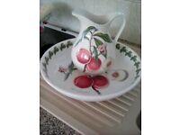 Portmeirion China Jug & Bowl in Pomona Fruit Design