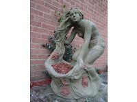 Large French Antique Stone Goddess Rose Bird Bath Basket Garden Centrepiece