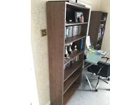Tall Dark brown bookshelves