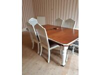 Antique Victorian extending dining table with winding key plus 6 chairs