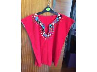 Ladies Red Embroidded Top