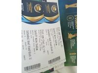2× GOLD CHAMPIONS TROPHY TICKETS 1ST SEMI FINAL CARDIFF