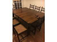 Lovely Antique Oak Arts And Crafts Extending Dining Table With 8 Caned Chairs.