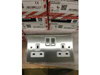 MK MK Aspect K24347 BSS W 13A Dual Earth Double Switched Socket 2-Gang Brushed Stainless Steel