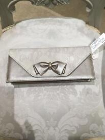 Cream and Taupe clutch bag
