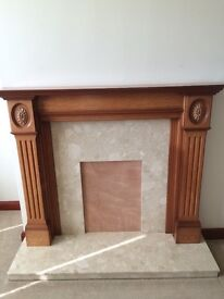 Teak fire surround with marble back and hearth