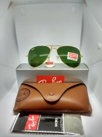 Ray-ban aviator sunglasses green lens