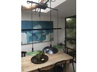 Industrial style hanging lights with enamel shades