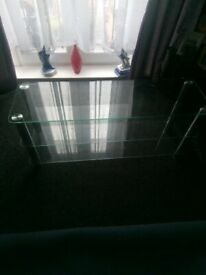 Clear glass 3tier tv stand/coffee table