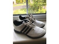 Adidas black and white boys golf shoes size 4 - only worn a few times