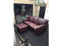 JOHN LEWIS 3 SEATER AND FOOTSTOOL