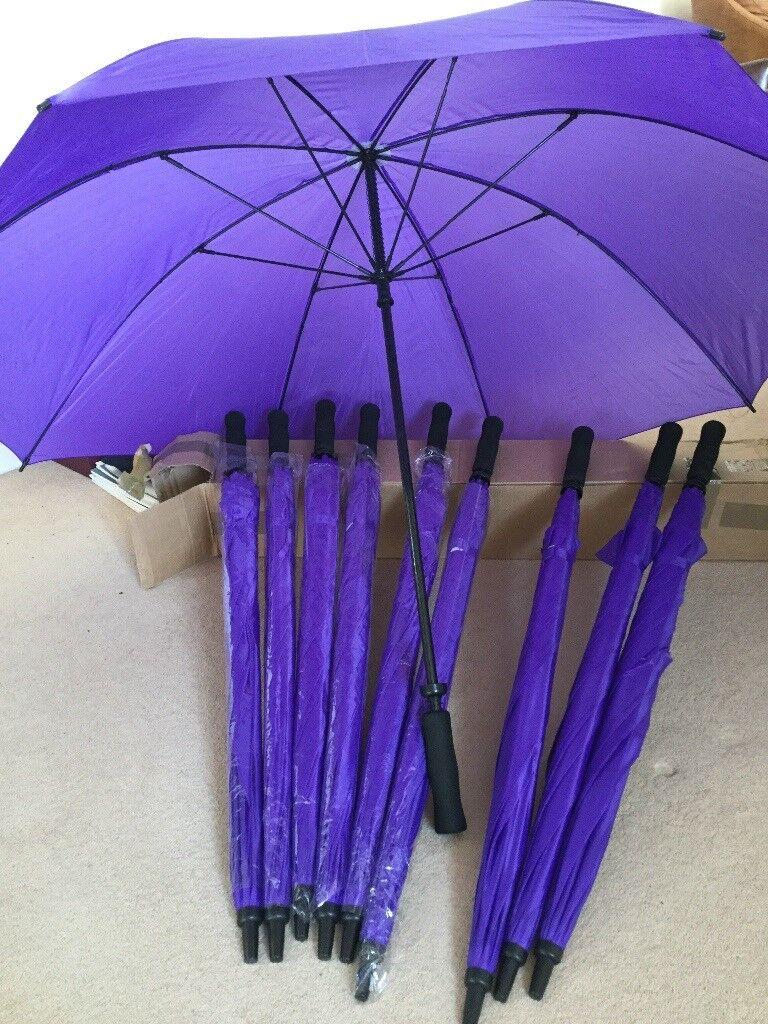 Umbrellas, 10 matching, purple, unused,