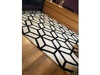 Ivory & Black Wool Geometric Rug