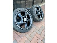 """Set of Brand new Black Satin Wheels and tyres 17"""" fitting Porsche 911 964 993 996"""