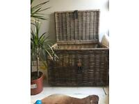 IKEA Large RATTAN Wicker Storage Basket Chest TRUNK Belted