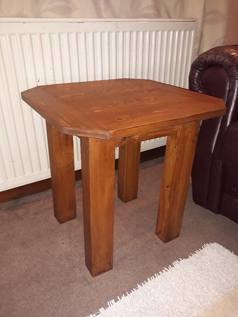 Handmade Rustic Coffee Table, Solid Pine Wood, Walnut Finish