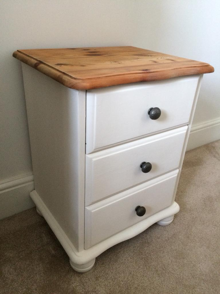 Handpainted pine bedside table/drawers
