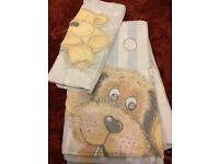 Teddy bear and dog duvet cover and pillow cover