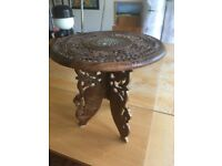 VINTAGE INDIAN HAND CARVED FOLDING WOODEN TABLE WITH INLAID TOP