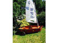 Optimist sailing dinghy (wooden)