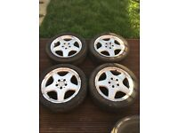 "GENUINE Mercedes SLK CLK C Class AMG 17"" Alloys and 235/45/17 Tyres 5x112 Audi Seat VW Skoda VAG"
