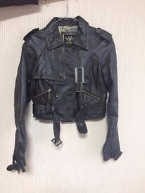 Ladies Brown Real Leather Jacket RIVER ISLAND Size 10