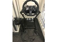 Logitech g920 Steering Wheel, Shifter, Pedals, Stand.