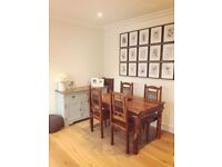 Real wood dining table and six chairs