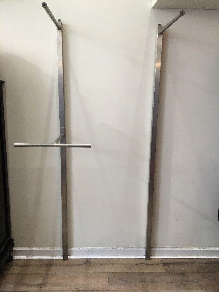 Stylish brushed steel bespoke shop fittings