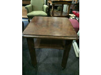 Pleasing Little Vintage Oak Square Top 2-Tier Hall Side Window Occasional Table On Original Castors