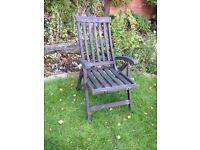 Wooden garden reclining chair