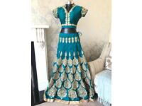 NEW Stunning Teal and Gold lengha Bollywood