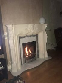 Louis Marble Resin Paragon 2000 Xtra Slide Control Fire Place With Marble Back & Marble Half