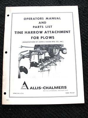 Allis Chalmers John Kovar Tine Harrow Attachment For Plows Operator Manual