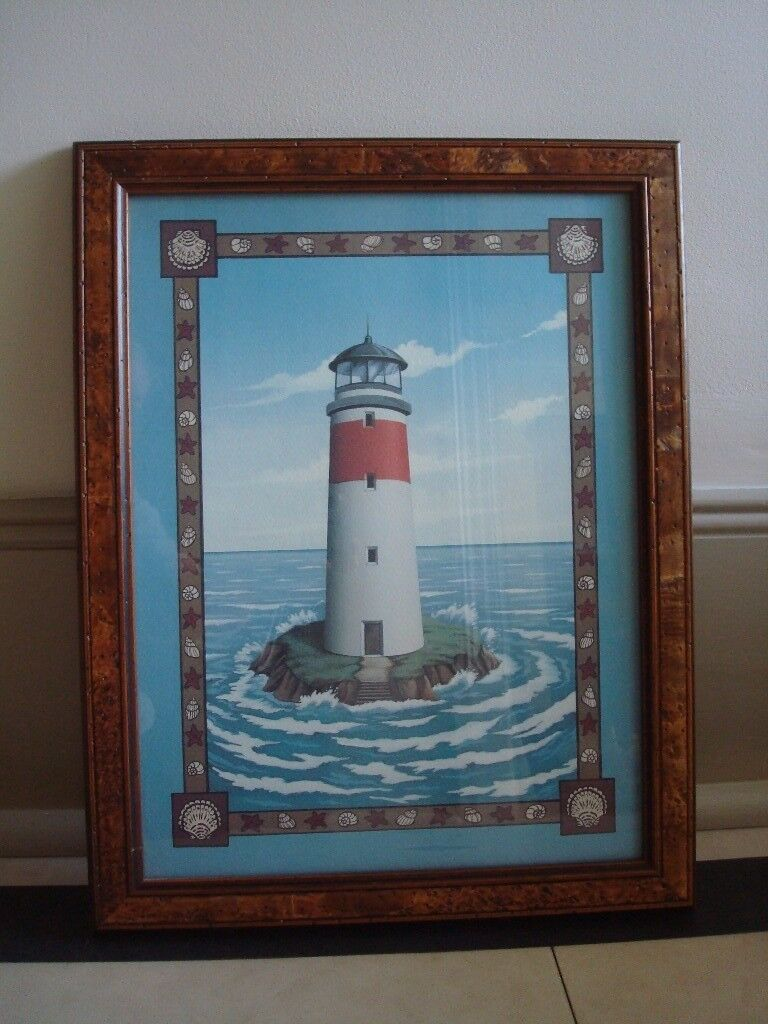 *** Lighthouse Picture framed - Burr elm***