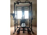 Gym Powertec cage bench pulley and weights