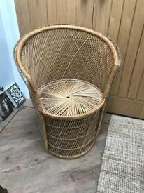 REDUCED Wicker Peacock Style Tub Chair