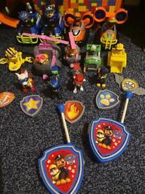 Paw patrol vehicles, characters, badges and Walkie Talkie