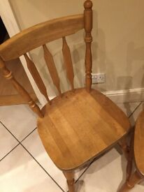Dining (Kitchen) chairs x 5 - Free - oak, in need of a good clean