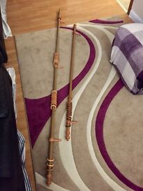 Wooden curtain poles with wooden curtain rings